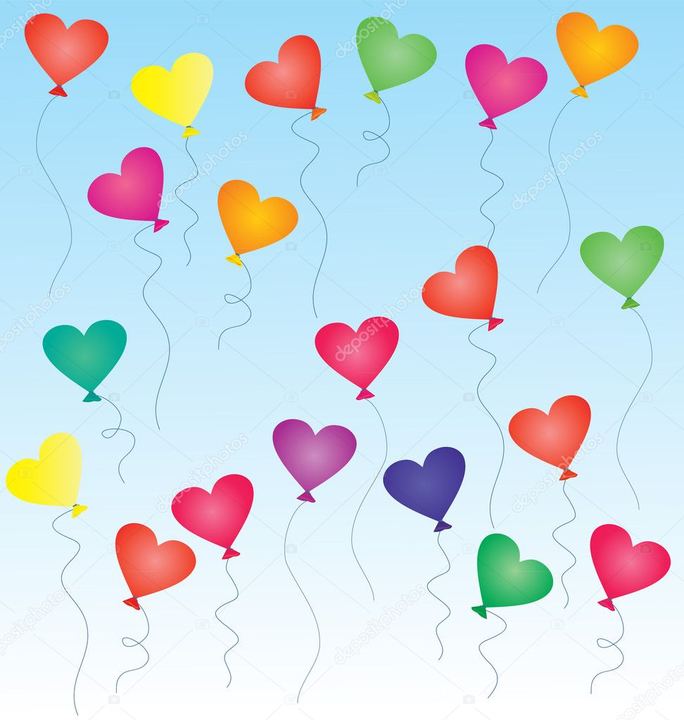 Colorful heart-shaped balloons in the blue sky — Stock Photo #8968826