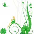 Royalty-Free Stock Photo: St. Patrick Day vector with fairy, butterflies and clover