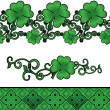 Royalty-Free Stock Photo: Vector green Patrick\'s day shamrock or clover decor borders set