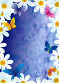 Flowers and butterflies grunge style spring background vintage p — Stock Photo