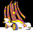 Vector style race car with star decor colorful futuristic illust - Stock Photo