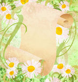 Margarida flores, grama verde e ilustração de rolo de papel velho — Foto Stock