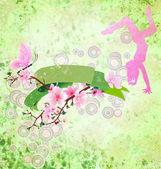 Rollo de primavera con sakura flor, mariposa, bailando chica y g — Foto de Stock