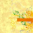 Yellow textured abstract ornamented background - Stock Photo