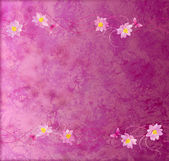 Magenta and purple grange paper background with flowers border — Stock Photo