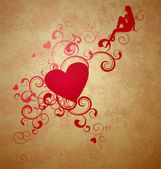 Red heart with florishes on grunge brown background with little — ストック写真