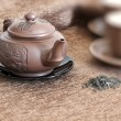 Tea pot, cups  and green tea - Stockfoto
