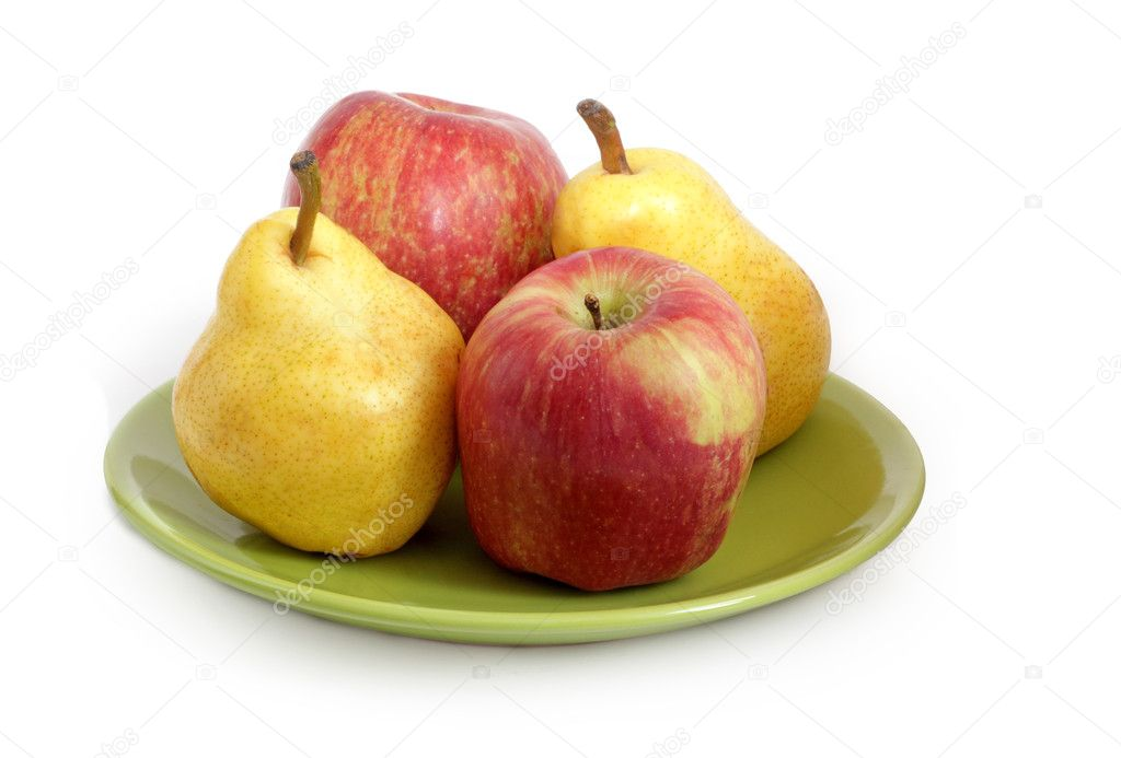 Pears and apples on the dish — Stock Photo #9466930