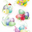 Color easter eggs with flowers and ladybird set isolated on whit — Stock Photo #9629062