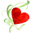 Watercolor red heart with green florishes isolated on white — Stock Photo #9629191