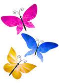 Kleurrijke vlinders geïsoleerd op witte aquarellen illustratie — Stockfoto
