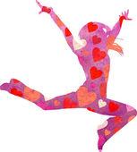 Tanzende Silhouette der Frau isoliert auf weißem Backgound-Aquarell — Stockfoto