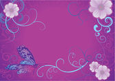 Violet butterfly and flowers on dark background — Stock Photo