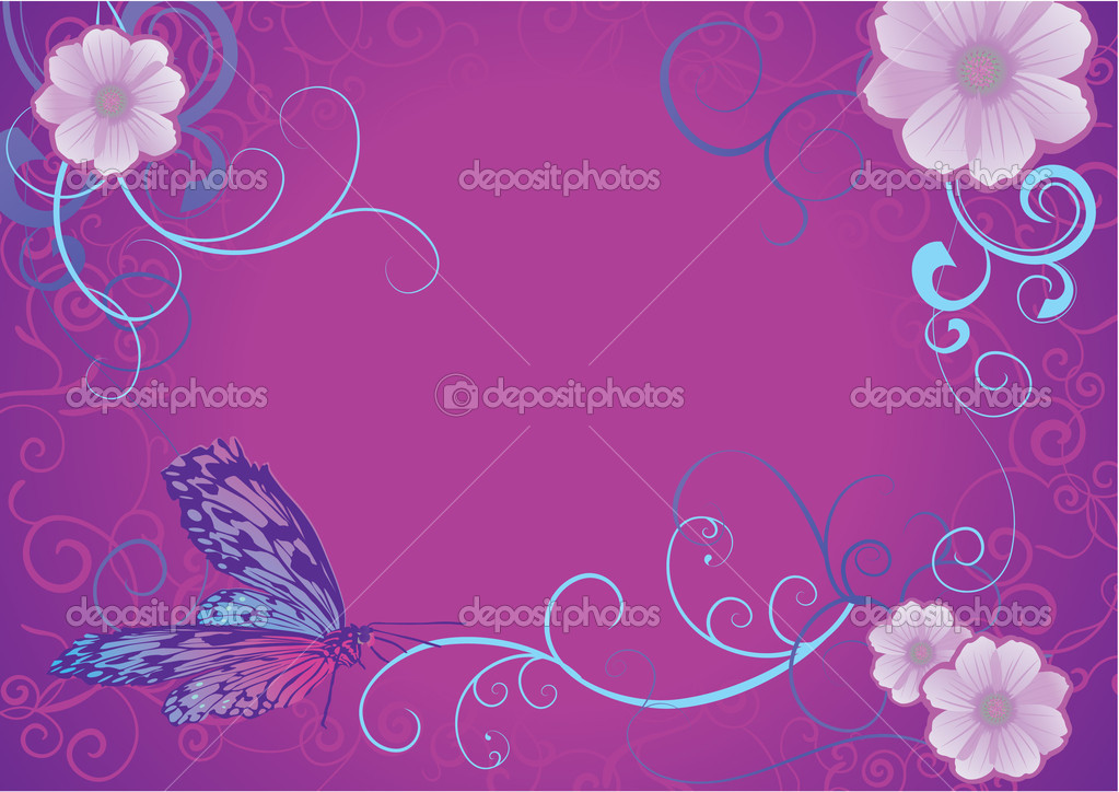 Violet butterfly and flowers on dark background — Stock Photo #9629357