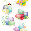 Color easter eggs with flowers and ladybird set isolated on whit — Stock Photo #9675541