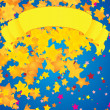 Vector yellow scroll and star rain bright illustration - Foto Stock