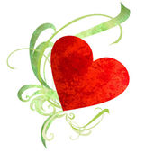 Watercolor red heart with green florishes isolated on white — Stock fotografie