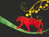 Red watercolor jungle cat (panther or tiger) illustration — Stok fotoğraf
