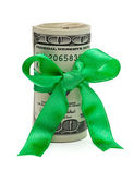 Wad of Cash with Red Bow — Stock Photo