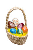 Eieren in easter basket — Stockfoto