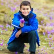 Boy offering a bunch of flowers - Stock Photo