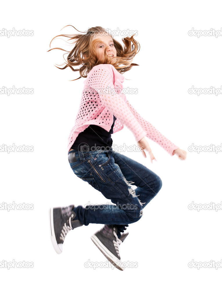 Cute girl jumping for joy isolated on white background — Stock Photo #8331654
