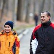 Father and son walking in the park — Stock Photo #8475507