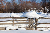 Fence covered with snow — Stock Photo