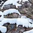 Rocks covered with snow — Stock Photo