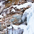 Huge icicles on a mountain — Стоковое фото