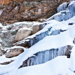 Huge icicles on a mountain — Stock Photo #9164019