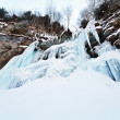 Huge icicles on a mountain - Stock Photo