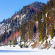 Stock Photo: Frozen lake and mountains