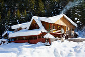Wooden cottage in snow — Stock Photo