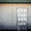 Door on wooden wall — Stock Photo