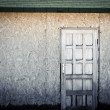 Door on wooden wall - Stok fotoğraf