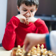 Boy playing chess, selective focus — Stock Photo #9285184