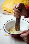 Crushing the garlic — Stock Photo
