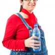 Pregnant woman with bottle of water — Stock Photo