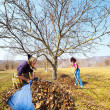 Mother and daughter working in an orchard — 图库照片