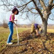 Mother and daughter working in an orchard — Foto de Stock
