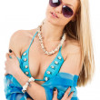 Young woman in blue swimsuit — Stock Photo #9967283