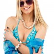 Young woman in blue swimsuit — Stock Photo #9967297