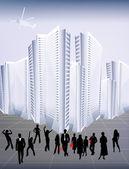 Fondo abstracto con paisaje urbano — Vector de stock