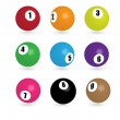 Colorful billiard balls — Stock Vector