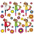 Set of cute women with shopping bags — Stock Vector