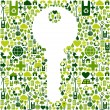 Key with green icons background — Stock Vector #10082372