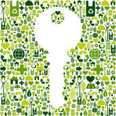 Key with green icons background — Stock Vector