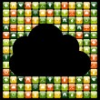 Global mobile phone green apps icons cloud — Stock Vector