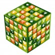 Global mobile phone green apps icons cube — Stock Vector